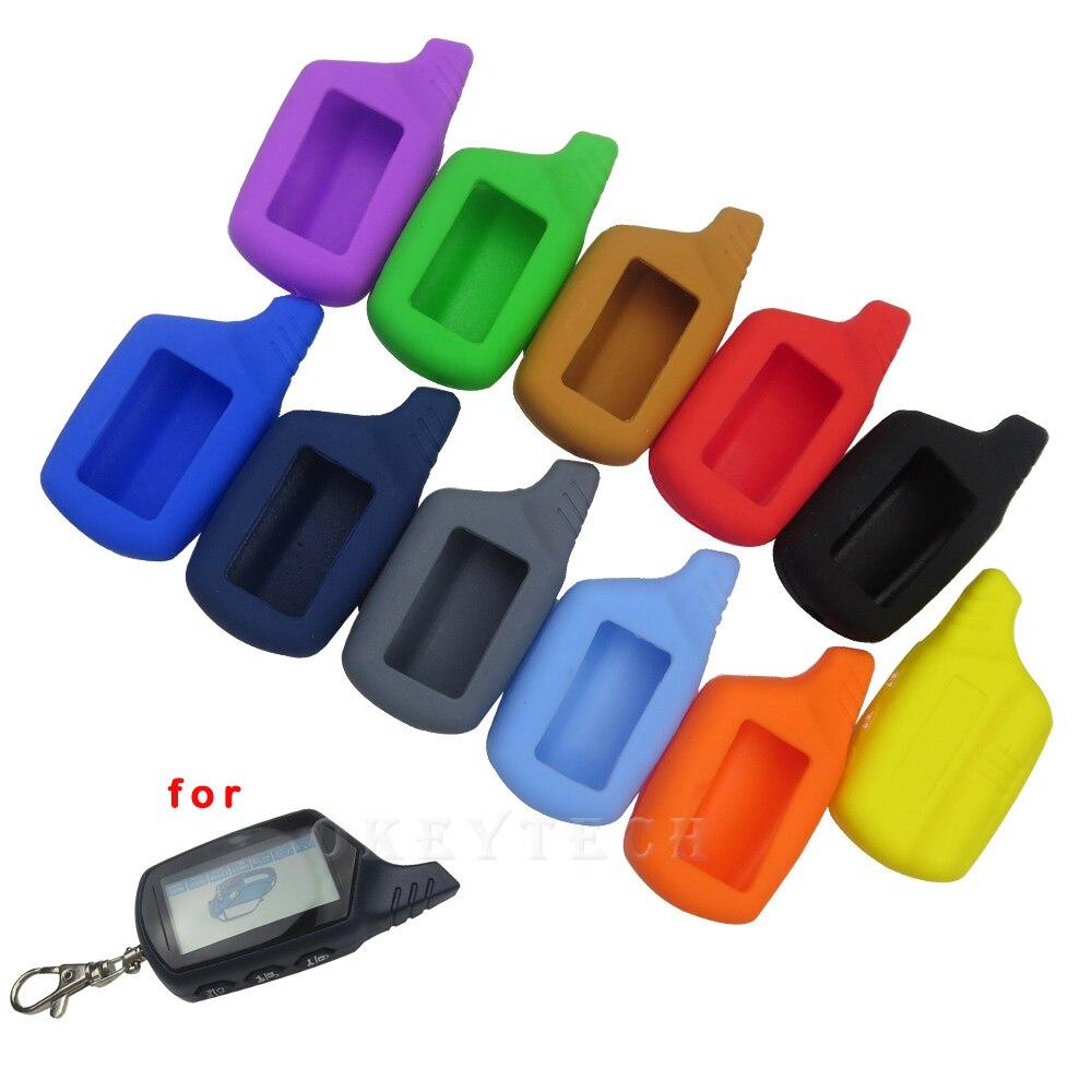 Okeytech silikonowa obudowa na kluczyk samochodowy pokrywa dla oryginalny Starline B9/B91/B6/B61/A91/A61/V7 brelok pilot samochodowy 2 sposób alarmu,
