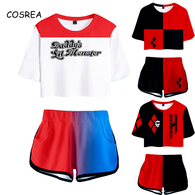 Movie Suicide Cosplay Costumes Short Sleeve Shirt Sport Suit Girls Tees Shorts T Shirt Running Sets Women Halloween Party