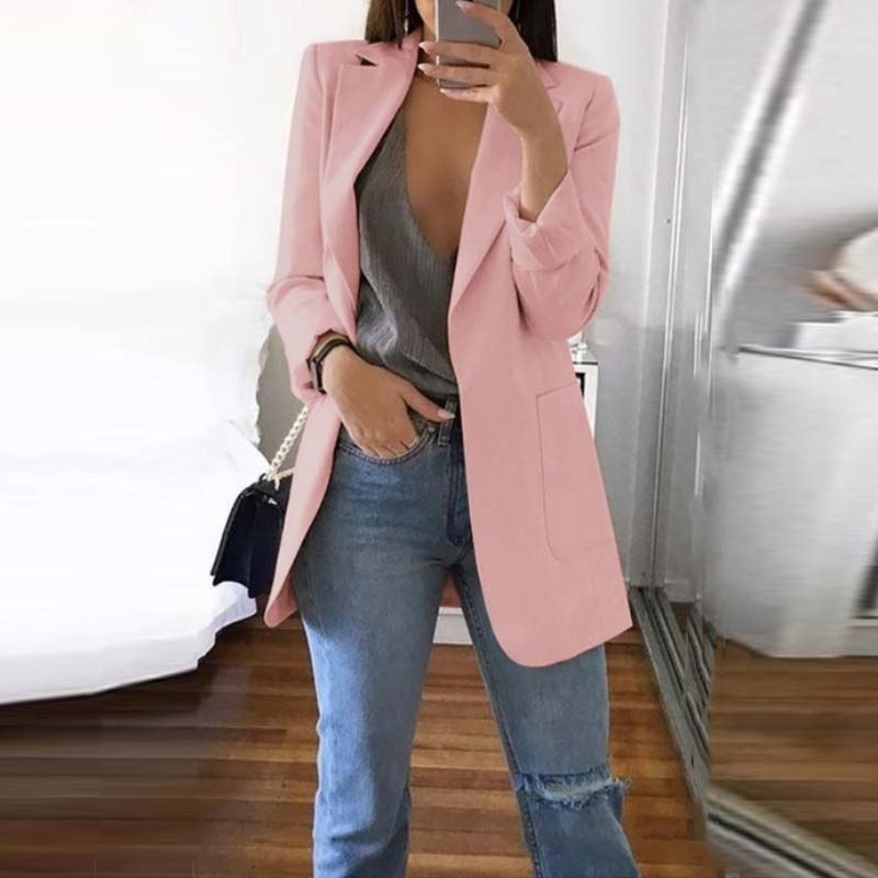 Women's Suits Elegant Solid Blazer 2020 Autumn Lapel Neck Jackets Cardigans Female Casual Office Blusas Overcoat Casaco Oversize