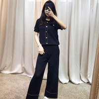 Famous Short sleeved Hollow Wide legged Trousers and Ice Silk Knitting Fashion Suit for Women In 2019 Two Piece Sets