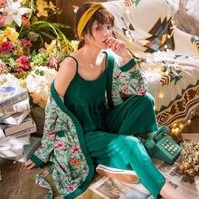Пижамные комплекты женская пижама с цветочным принтом осенняя