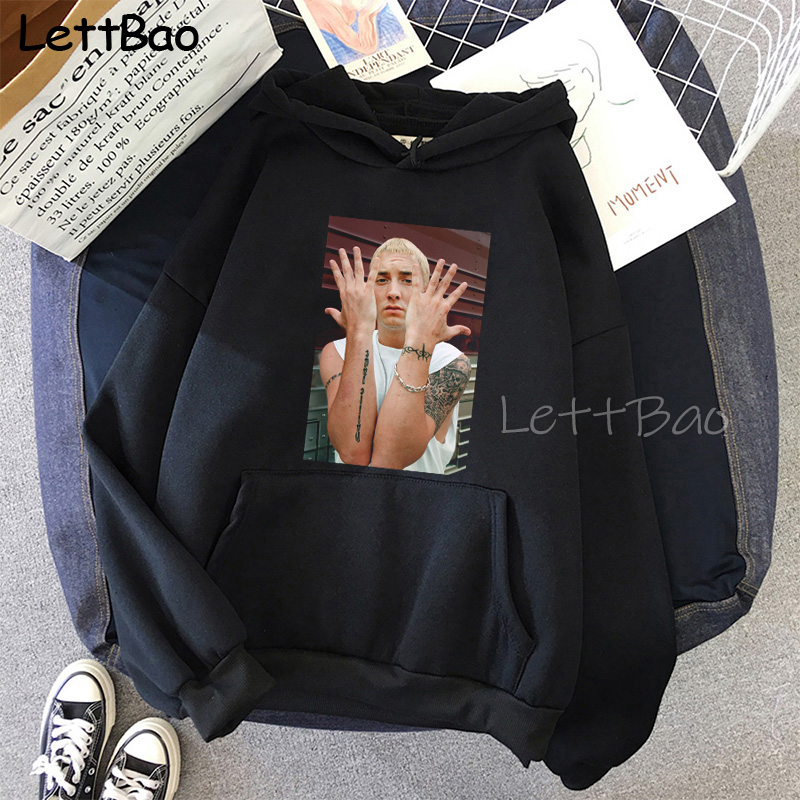 Eminem Cool Black Unisex Hoodies Sweatshirt Hip Hop Rap Punk Style Tops Pullover HipHop Rock Gothic Winter Coat Women Men Hoodie 3