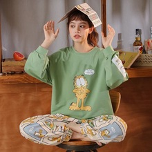 女性の家の服綿韓国スタイル秋春パジャマミニマリストスタイルオレンジズボンピンクトップ綿の女の子のパジャマセット