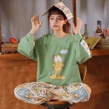 Ropa de dormir de algodón de estilo coreano para mujer, ropa de dormir para otoño y primavera, con estampado de dibujos animados de tamaño grande, pijama de algodón para niña
