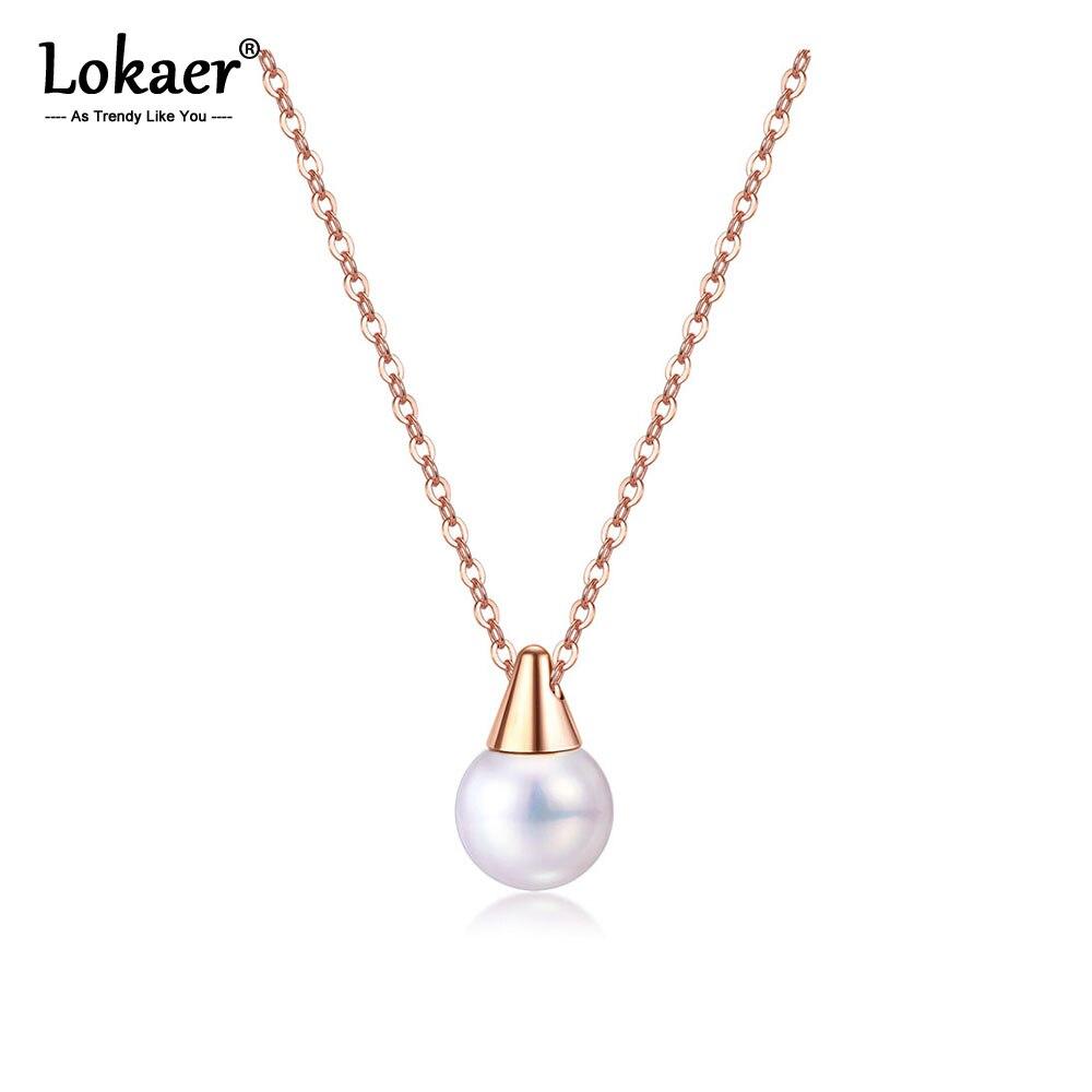 Lokaer-collier en acier inoxydable pour femmes, avec pendentif en perles, bijou bohème, ras du cou, maillon, tendance, N17081