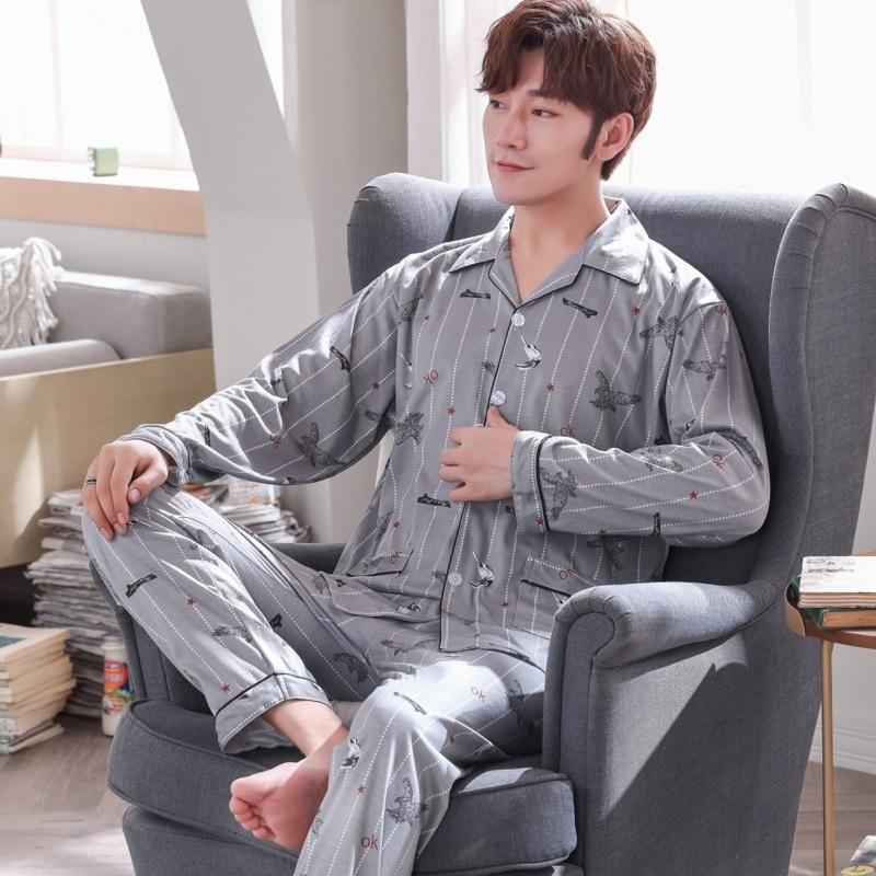 Men Pajamas Long Sleeve Pure Cotton Spring And Autumn Cardigan Plaid Casual Tracksuit Men's Autumn Set 5637