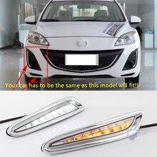 1 Set DRL For Mazda 3 Mazda3 Axela 2010 2011 2012 2013 Daytime Running Lights fog lamp Yellow turn signal 12V Daylight