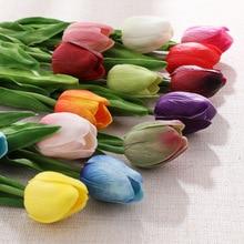 24 Pieces Beautiful PU Mini Multicolor Tulip Artificial Flowers Holding Wedding Home Decor Fake