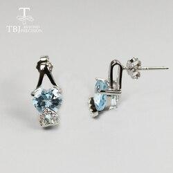 Natural Brazil Sky blue topaz earring natural Gemstones garnet earring 925 sterling silver fine jewelry cute design for girls
