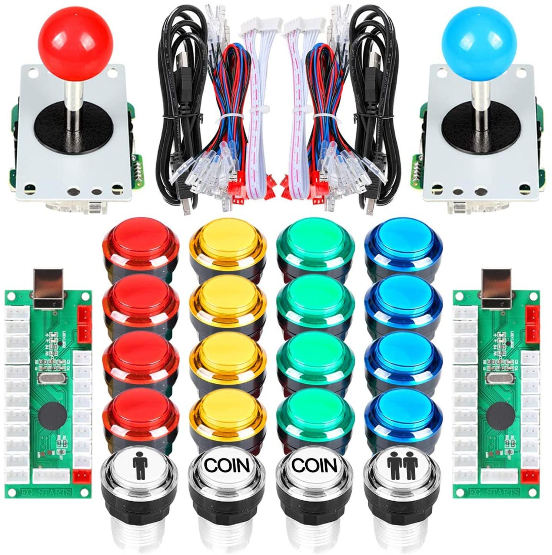 2 Player Arcade DIY Kit USB Encoder to PC Joystick Games 5V LED Lit Push Buttons For Raspberry Pi 1 2 3 3B Mame Fighting Stick