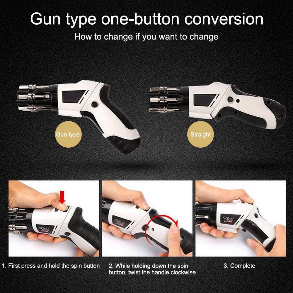 Ha504c82b84c648f8896849c89191d33fr - 3.6V Cordless Electric Screwdriver 6 In 1 Built-in Bits Mini Rotary Screw Driver Rechargeable Cordless Drill Power Tools