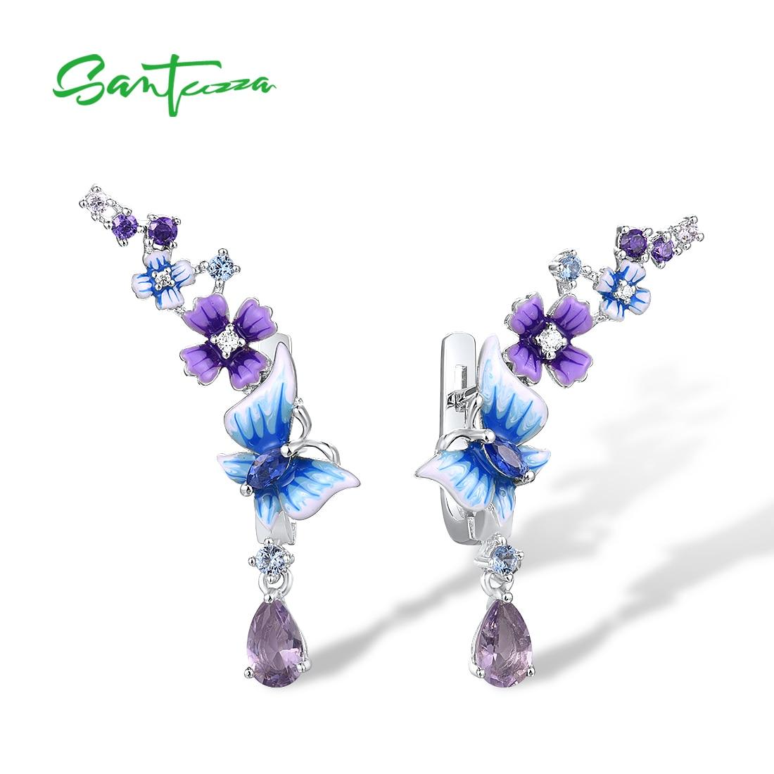 Klapp-Creolen mit blau-lila 3D Blüten, Schmetterlingen und Kristall-Tropfen | 925 Ohrringe 925 Klappcreolen mit Anhänger Frühling