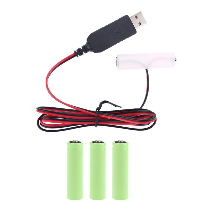 LR6 AA Battery Eliminator USB Power Supply Cable Replace 1-4pcs 1.5V AA Battery 667C