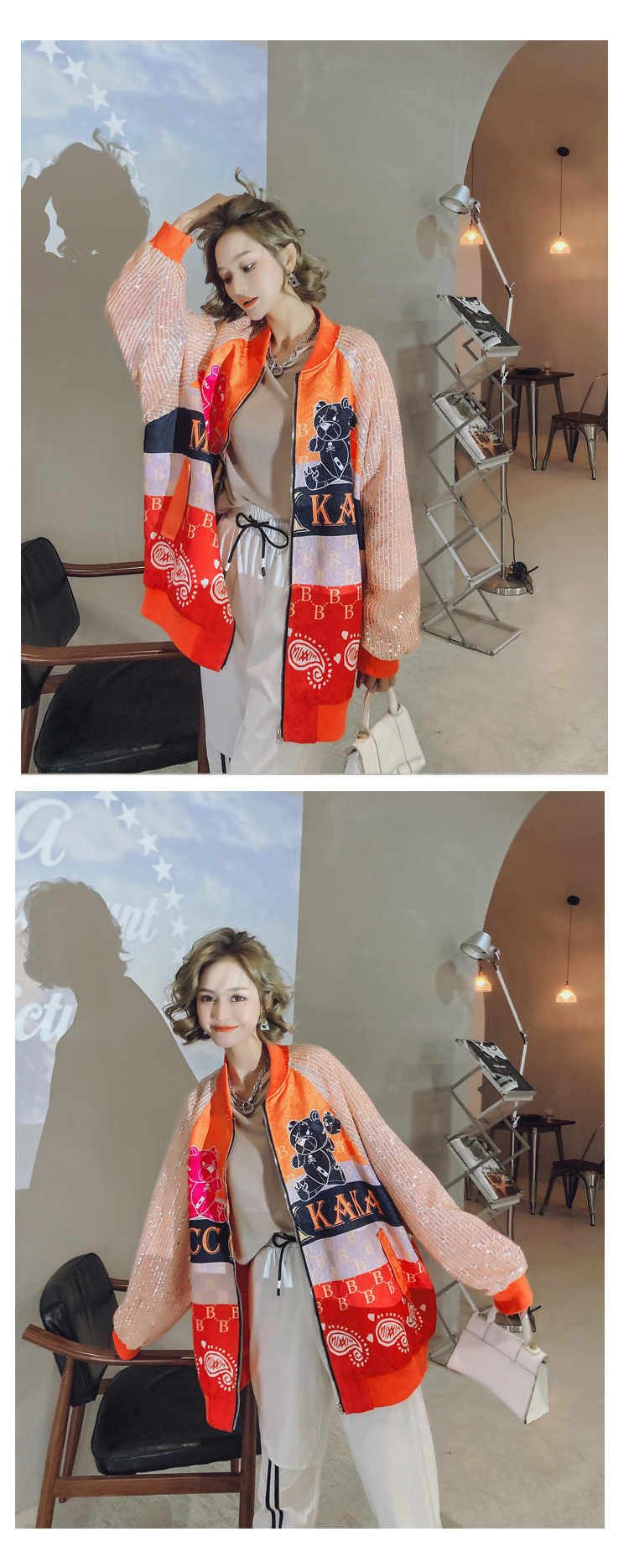 Ha504f267d6fa43c1a9b021a29cbe20cel 2021 Spring Women Long Sequins Print Patchwork Loose Coat