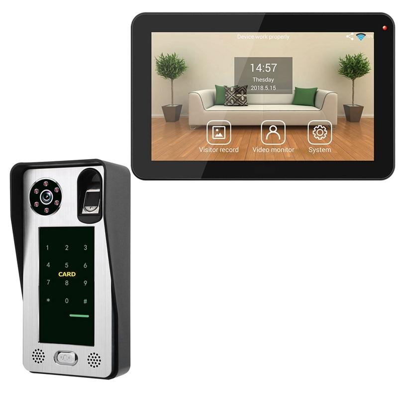 FFYY-Mountainone 9-Inch Wired Wifi Fingerprint Ic Card Waterproof Video Phone Doorbell Infrared Video Intercom System Black +Sil