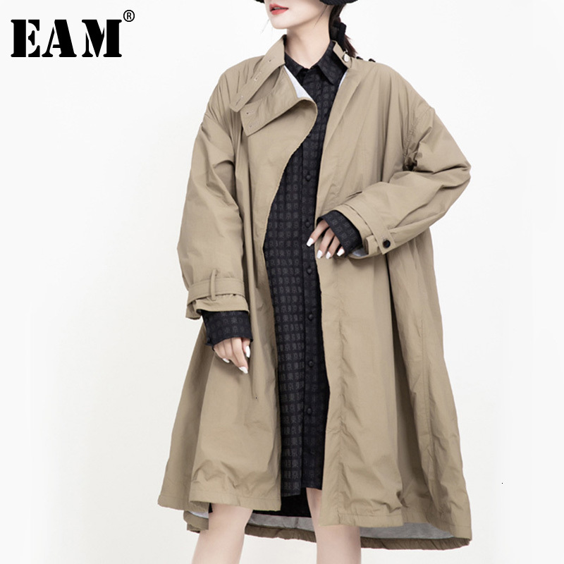 [EAM] Women Button Split Big Size Trench New Stand Collar Long Sleeve Loose Fit Windbreaker Fashion Autumn Winter 2019 1K176