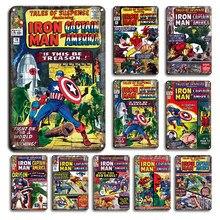 Quadrinhos super-herói estanho poster sinais de metal dos desenhos animados do vintage pintura de parede criativa decoração de parede babyroom sinal de flandres