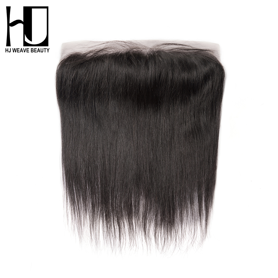 HJ WEAVE BEAUTY Lace Frontal Closure Brazilian Straight Remy Hair 13x4 Pre Plucked Hairline With Baby Hair Transparent Frontal