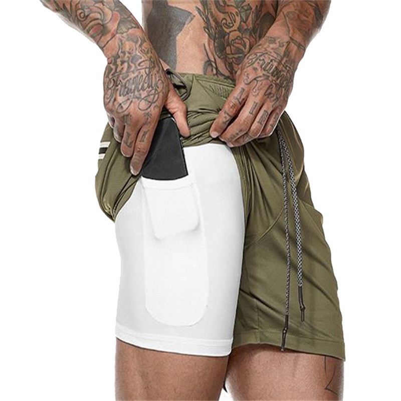 2019 Summer Men Double Layer Pockets Shorts Joggers Training Fitness Sporting Shorts Solid Camouflage Workout Shorts Hot Sale