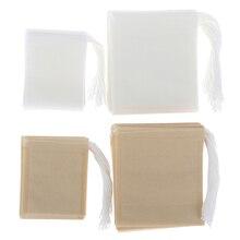 100 шт./лот бумажные пакетики для чая, фильтр, пустые чайные пакетики со шнурком для травяного свободного чая