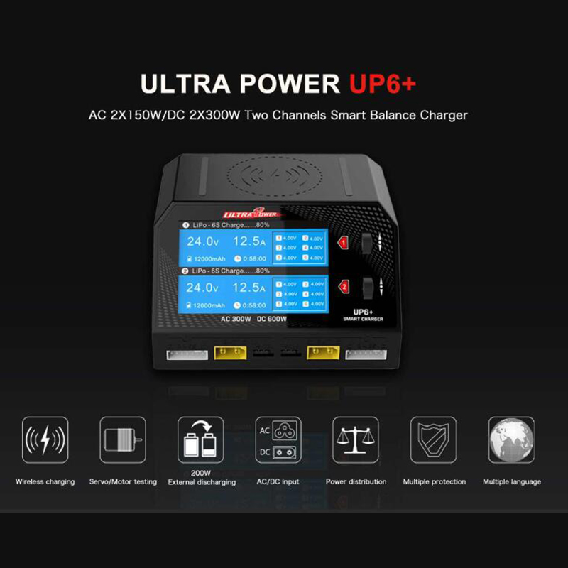 Ultrapower ULTRA POWER UP6+ AC 2x150W DC 2x300W 2x16A Dual Channel Battery Balance Charger Discharger AC/DC Charger