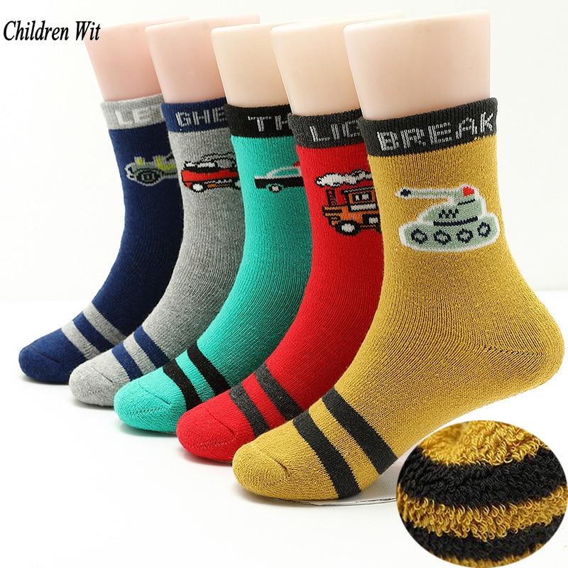2019  New Winter Boys Socks Plus Velvet Thick Cotton Children Socks 3-15 Year Kids Socks For Boys 5 Pairs/lot