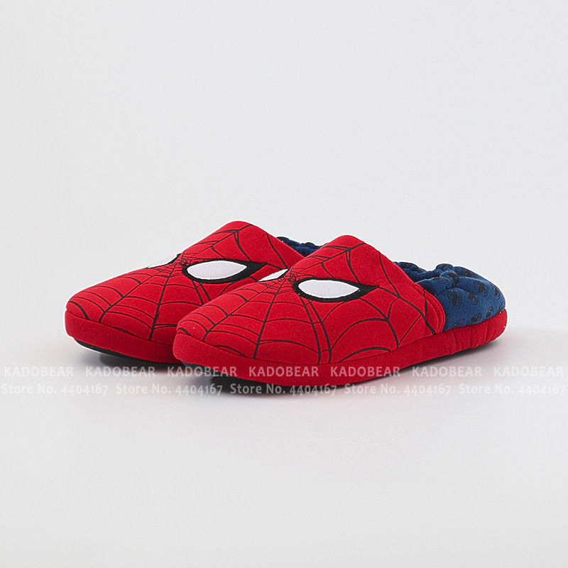 Cartoon Spiderman Children Winter Warm Slippers Kids Boy Cotton Fur Plush Indoor Home Embroidery Shoes Baby Girl Cute Flip Flops