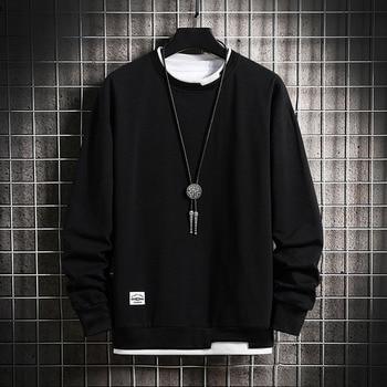 Mens Casual Sweatshirts Hoodie Men Fake Two Pieces Multi Color O-Neck Fashion Harajuku Style Male Sweatshirt 2021 New