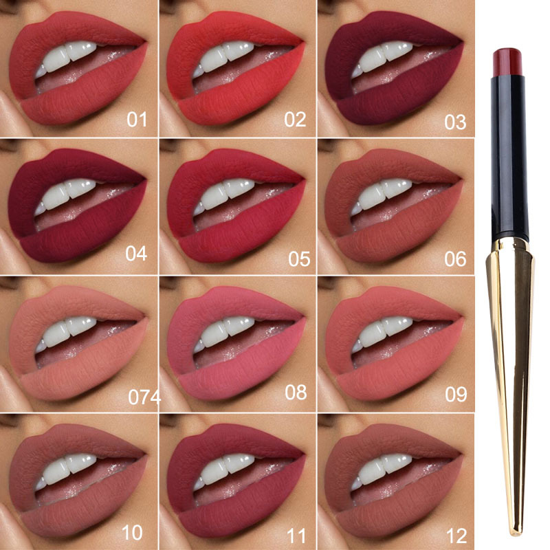 Hot Sales 12 Colors Matte Lipsticks Waterproof Long Lasting Lips Makeup Pigment Nude Sexy Red Lip Tint Matte Lipstick Cosmetic 2