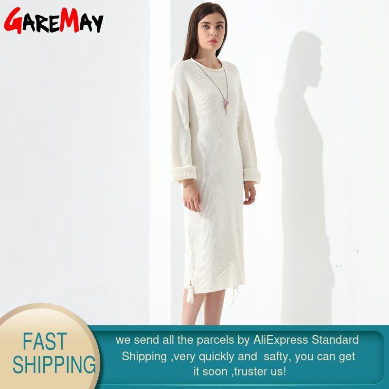 Gaun Sweater panjang, Wanita Pullover longgar rajutan lengan panjang - Pakaian Wanita - Foto 2