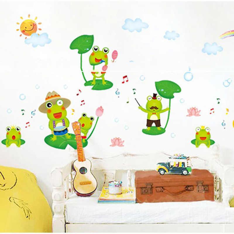 Etiqueta de la pared de la rana feliz de la historieta para la habitación de los niños decoración del hogar Mural de animales pegatinas para guardería papel pintado