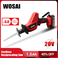 WOSAI 20V Cordless Reciprocating Saw Adjustable Speed Electric Saw Saber Saw Portable Electric Saw for Wood Metal Cutting