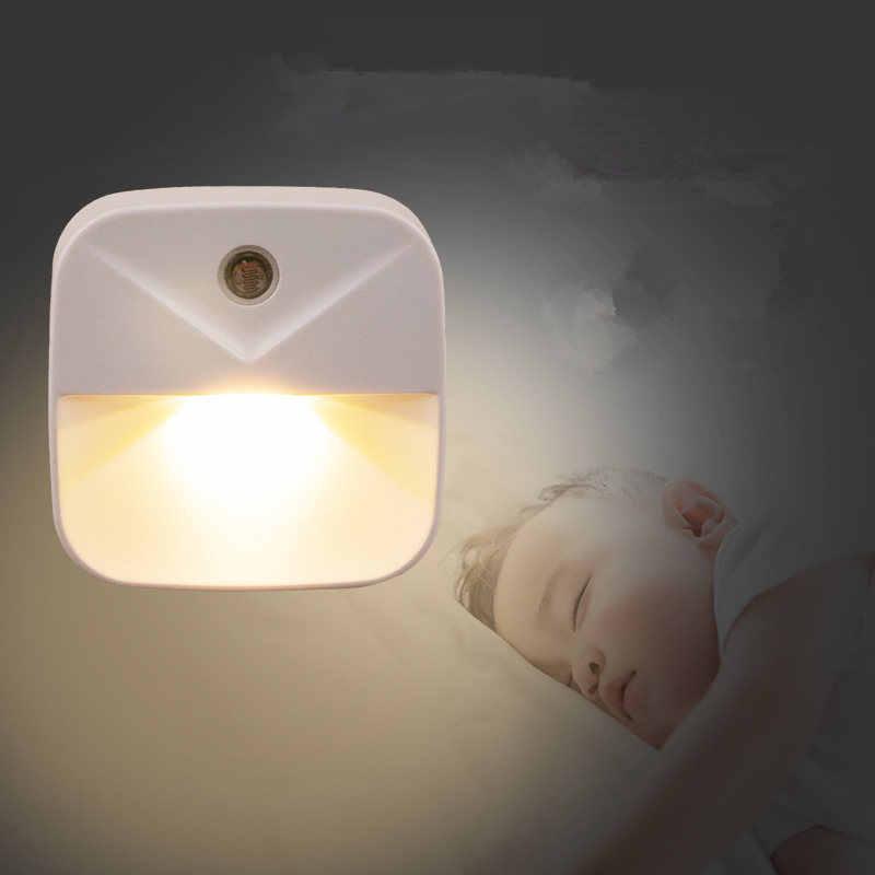 1 unidad de luz nocturna LED con Sensor inalámbrico Enchufe europeo y estadounidense Mini luces nocturnas cuadradas para habitación de bebé lámpara de pasillo de regalo