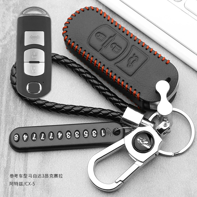 Leather Car Remote Key Case Cover For <font><b>Mazda</b></font> 2 3 6 Axela Atenza CX-5 <font><b>CX5</b></font> CX-7 CX-9 <font><b>2014</b></font> 2015 2016 2017 Smart 2/3 Buttons image