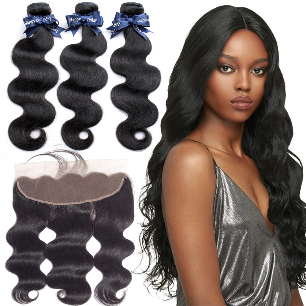 BEAUDIVA Hair Malaysian Body Wave 3 Bundles With Frontal Closure Malaysian Hair Weave Bundles With Frontal 13x4 Remy Hair Extens