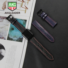 Watch Strap For Apple Series 4 5 40/44mm Real Carbon Fiber with Leather Watchband 1 2 3 Band Bracelet