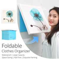 Folding Malerei Box Wand-Montiert Schrank Wasserdicht Lagerung Rack Kleidung Locker mit Dekorative Gemälde für Bad