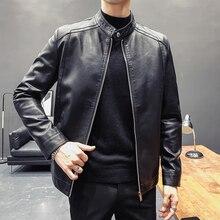 Men Clothing Motorcycle-Jackets Black Coats Stand-Collar Long-Sleeve Casual Fashion Slim