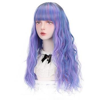 Darmowe piękno długie falowane syntetyczne Multicolor niebieski fioletowy różowy Auburn Marron włosy peruki z grzywką dla kobiet Lolita przebranie na karnawał