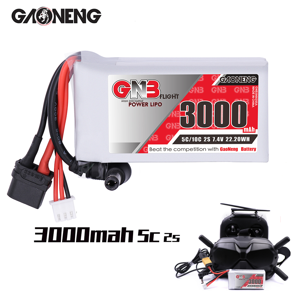 Gaoneng GNB 3000MAH 2S 7.4V 5C DC5.5mm XT60 Goggles Lipo Battery Power Indicator For Fatshark Dominator Skyzone Aomway RC Drone