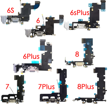 Charging Port USB Dock Flex Cable With Microphone And Signal Antenna Replacement For iPhone 6 6Plus 6s 6sPlus 7 7Plus  8 Plus 1