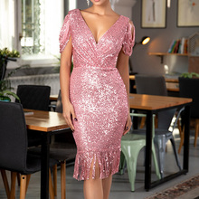 Minimalist Party Dress Spring Autumn The New Fashion Sexy Simple Elegant Thin Best Sellers Tassel Sequins V-neck Sleeveless