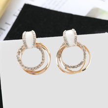 Brand New Temperament Sterling Silver Korean Cat Eye Stone Water Diamond Contracted Multilayer Ring Earrings Female Earrings(China)