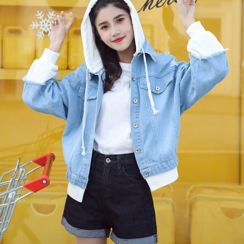 Ha5068eba0f6b45dc8606da3f8221f2a4M Spring Autumn Hooded Denim Jacket Women's Ripped Hole Jeans Coat Retro Jean Jacket Street Casual Bomber Jacket Outerwear Hoodies