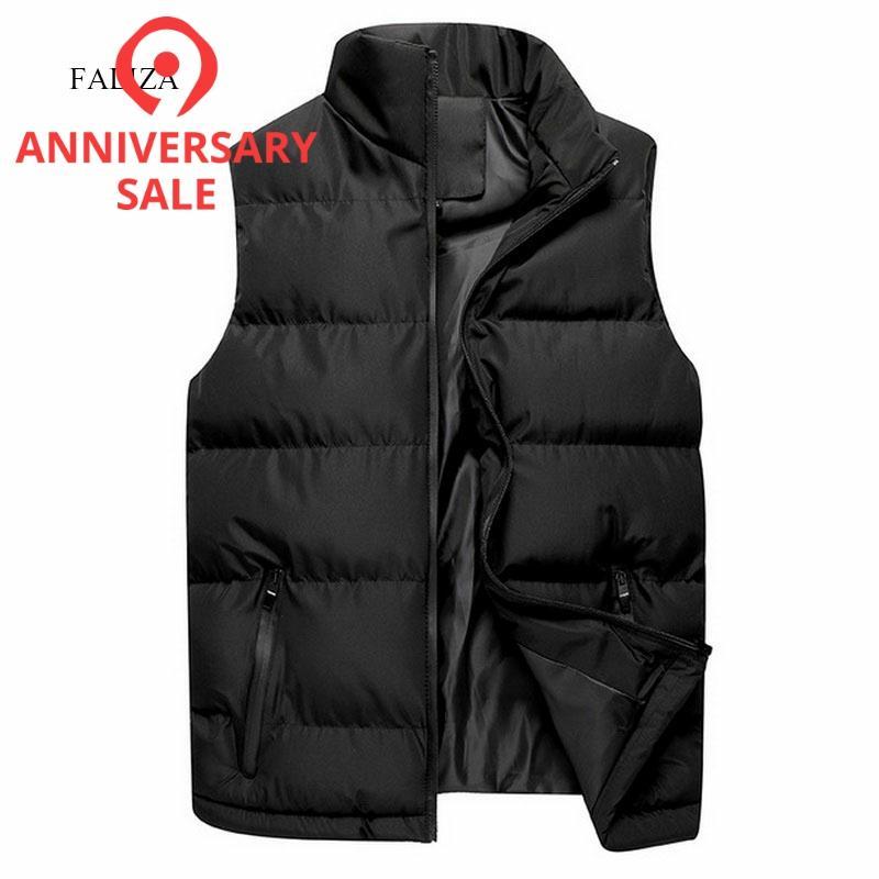 FALIZA New Winter Mens Jackets Sleeveless Vest Men's Warm Down Vest Homme Casual Thick Waistcoat Chalecos Para Hombre 5XL MJ118
