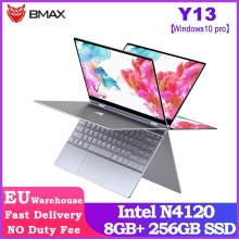 BMAX Y13 360° Laptop 13.3 inch Notebook Windows 10 Pro 8GB LPDDR4 256GB SSD 1920*1080 IPS Intel N4120 touch screen laptops