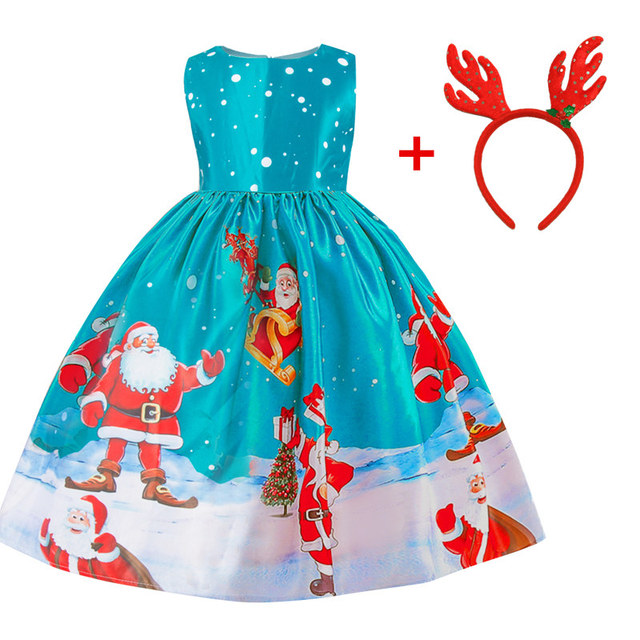 Silk girls blue christmas dress 3-10 years