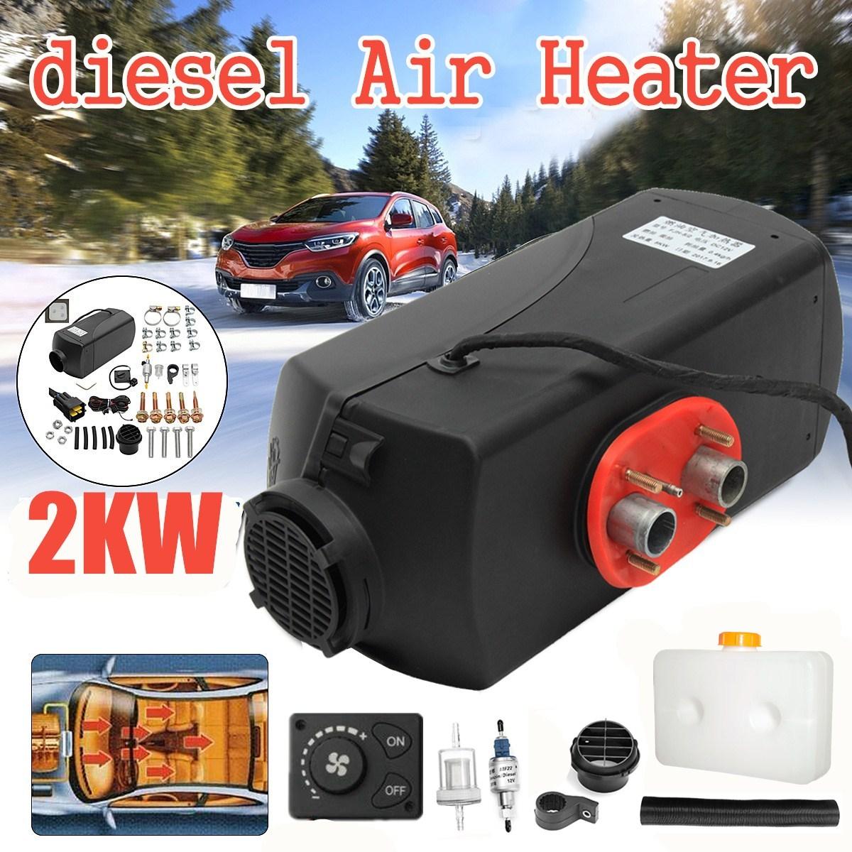 12V 2KW voiture Diesels Air Parking chauffage bouton de chauffage de voiture télécommande moniteur interrupteur + silencieux pour camions Bus remorque chauffage