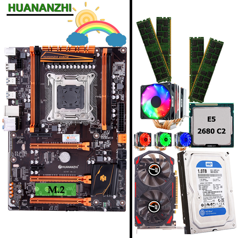 Discount mobo HUANANZHI deluxe X79 LGA2011 motherboard with CPU E5 2680 C2 cooler RAM 32G(4*8G) 1TB 3.5' SATA HDD GTX750Ti 2G|Motherboards| |  - title=