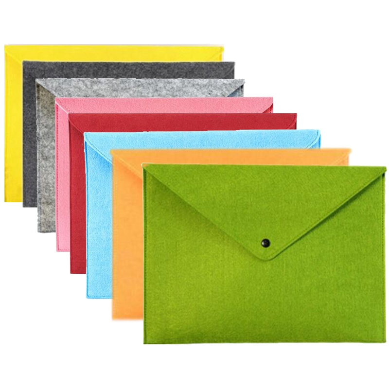 8 Pcs Simple Solid A4 Big Capacity Document Bag Business Briefcase File Folders Chemical Felt Filing Products Student Gifts